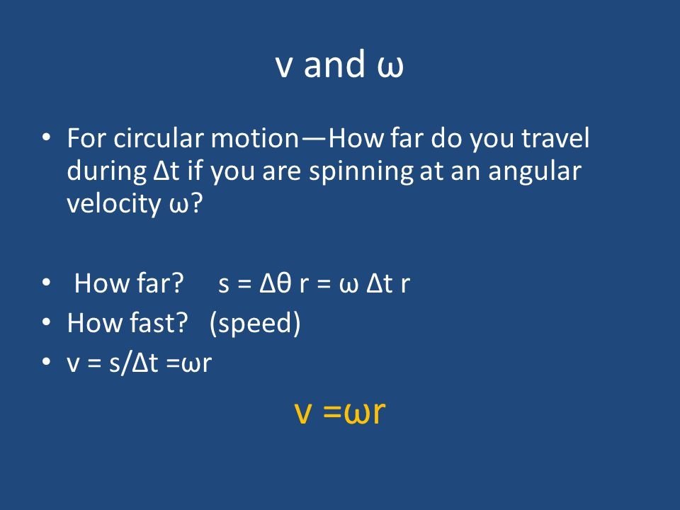 v and ω For circular motion—How far do you travel during Δt if you are spinning at an angular velocity ω
