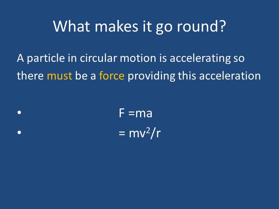 What makes it go round F =ma = mv2/r