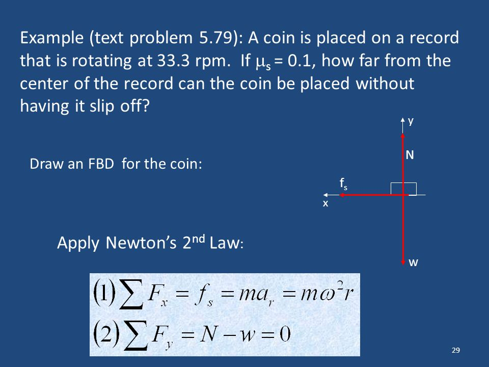 Example (text problem 5.79): A coin is placed on a record that is rotating at 33.3 rpm. If s = 0.1, how far from the center of the record can the coin be placed without having it slip off