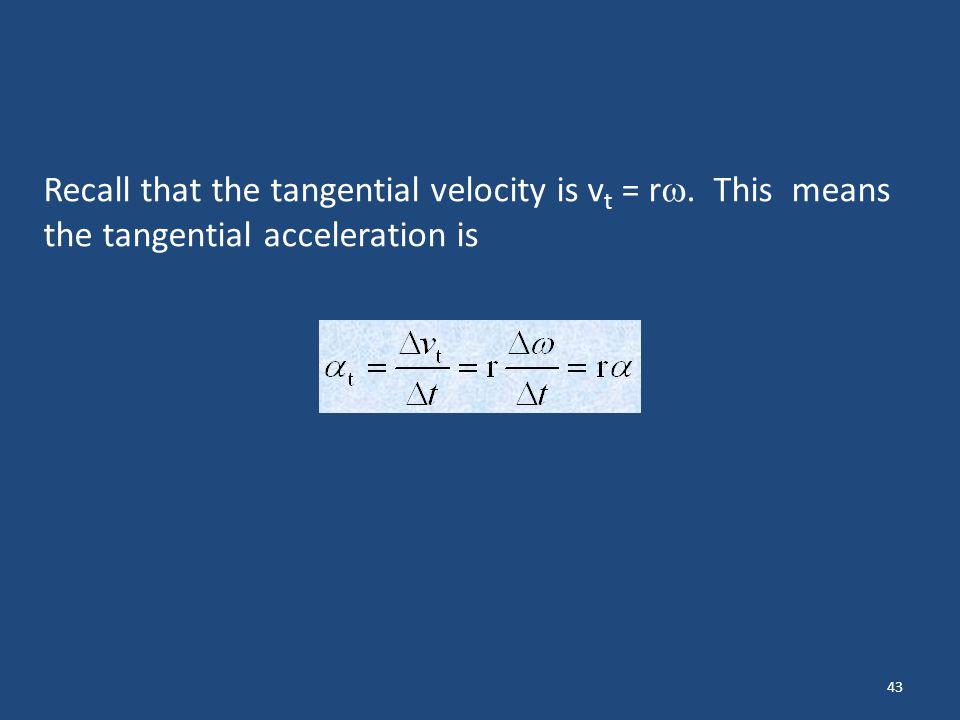 Recall that the tangential velocity is vt = r