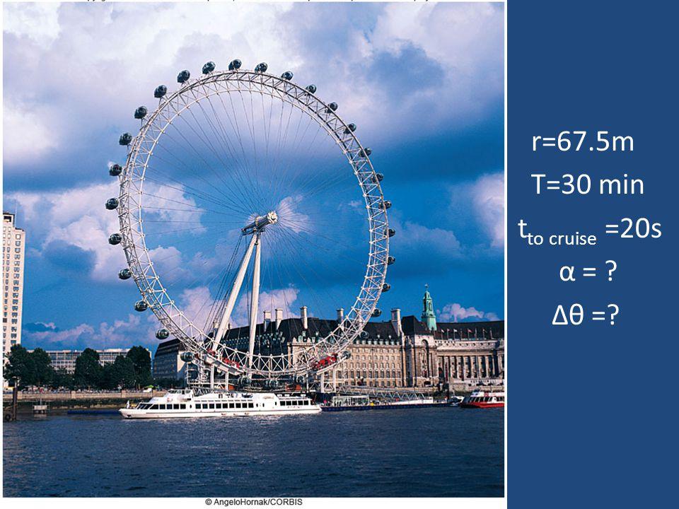 r=67.5m T=30 min tto cruise =20s α = Δθ =