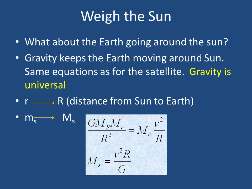 Weigh the Sun What about the Earth going around the sun