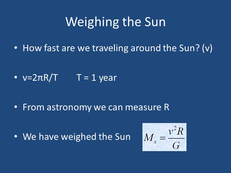 Weighing the Sun How fast are we traveling around the Sun (v)