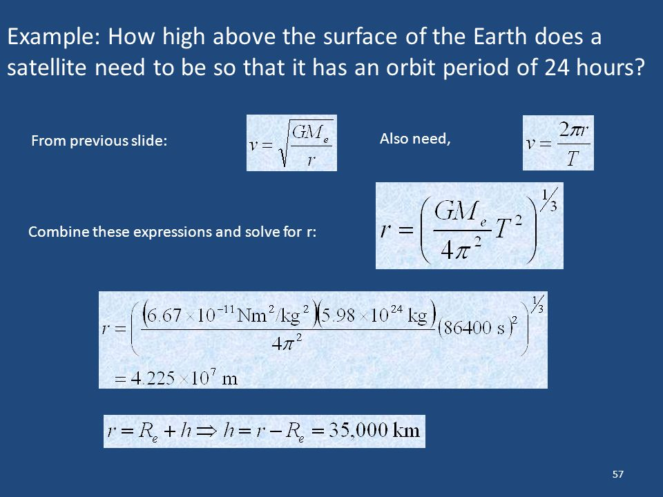 Example: How high above the surface of the Earth does a satellite need to be so that it has an orbit period of 24 hours