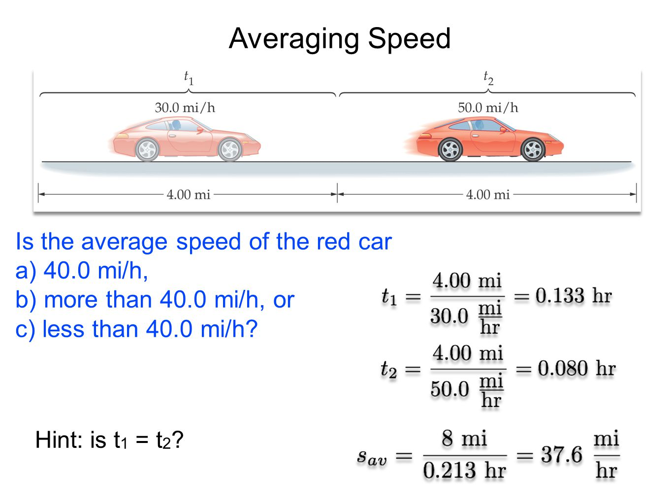 Averaging Speed Is the average speed of the red car a) 40.0 mi/h,