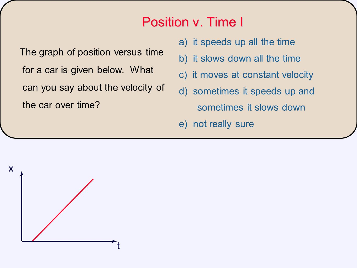 Position v. Time I a) it speeds up all the time