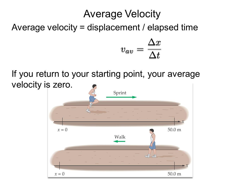 Average Velocity Average velocity = displacement / elapsed time