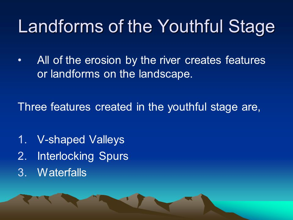 Landforms of the Youthful Stage