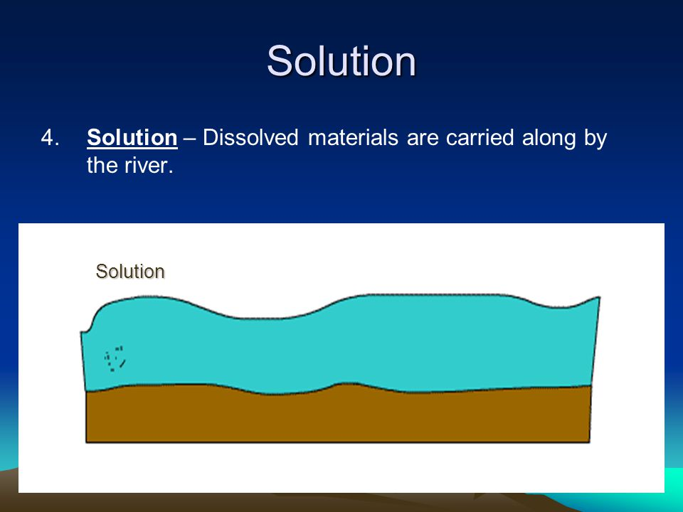 Solution 4. Solution – Dissolved materials are carried along by the river. Solution
