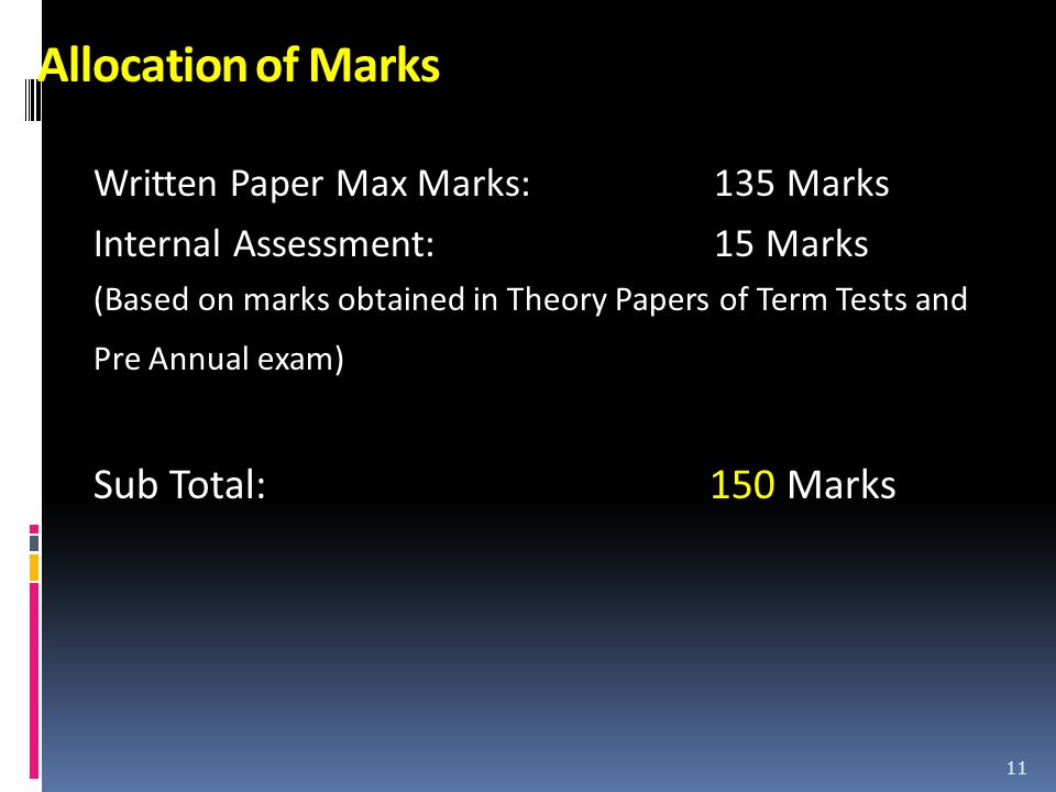 Allocation of Marks Written Paper Max Marks: 135 Marks