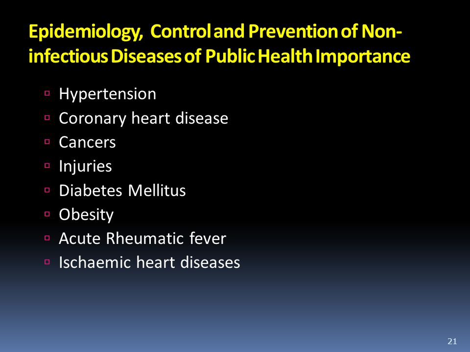 Epidemiology, Control and Prevention of Non-infectious Diseases of Public Health Importance