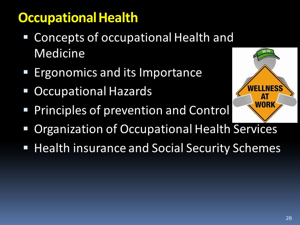 Occupational Health Concepts of occupational Health and Medicine