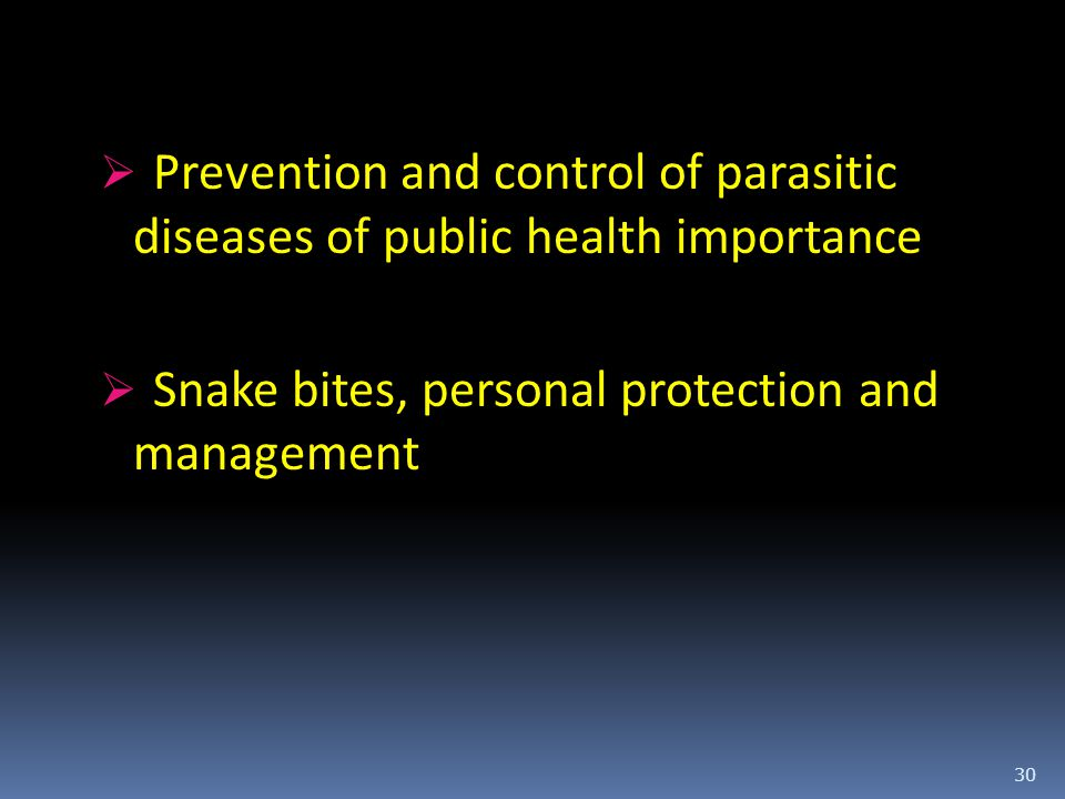 Prevention and control of parasitic diseases of public health importance