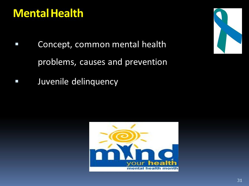 Mental Health Concept, common mental health problems, causes and prevention Juvenile delinquency