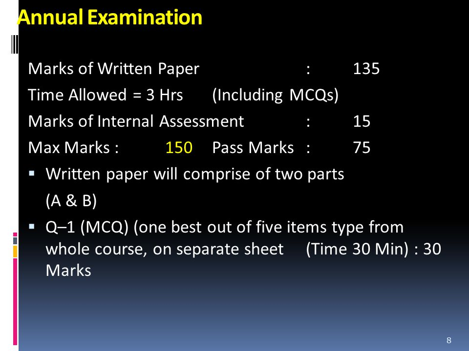 Annual Examination Marks of Written Paper : 135