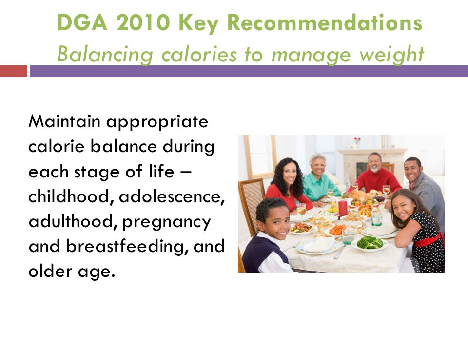 DGA 2010 Key Recommendations Balancing calories to manage weight