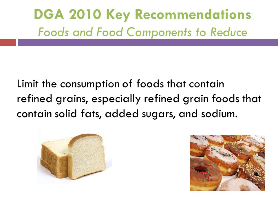 DGA 2010 Key Recommendations Foods and Food Components to Reduce