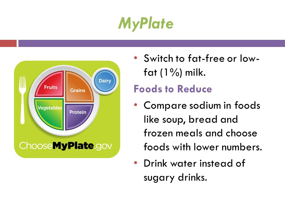 MyPlate Switch to fat-free or low- fat (1%) milk. Foods to Reduce
