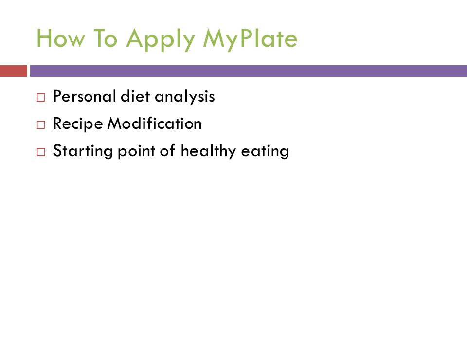 How To Apply MyPlate Personal diet analysis Recipe Modification