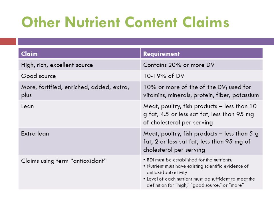 Other Nutrient Content Claims