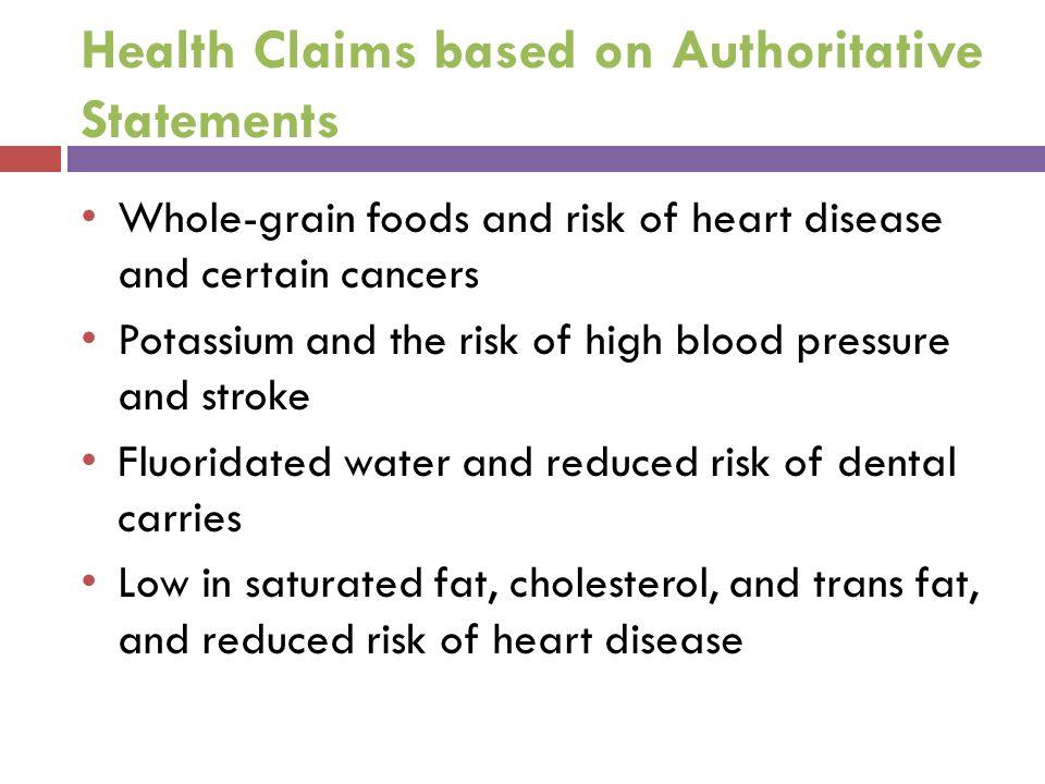 Health Claims based on Authoritative Statements