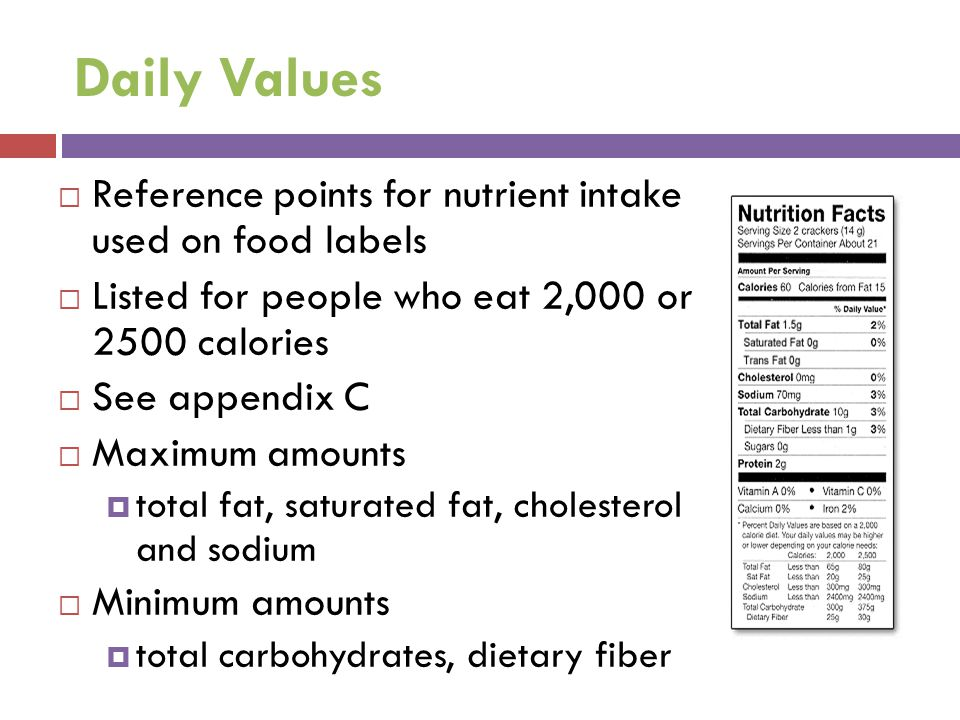 Daily Values Reference points for nutrient intake used on food labels
