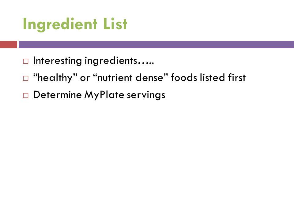 Ingredient List Interesting ingredients…..