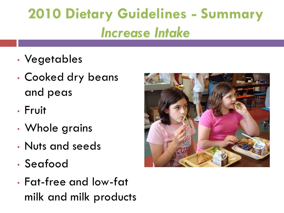 2010 Dietary Guidelines - Summary Increase Intake