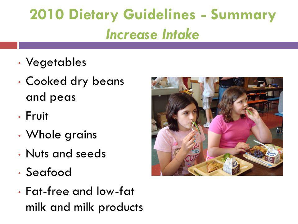 2010 Dietary Guidelines - Summary Increase Intake