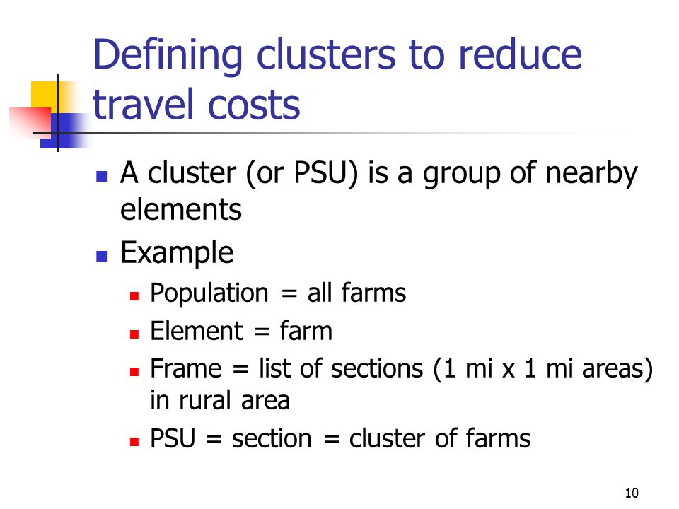 Defining clusters to reduce travel costs
