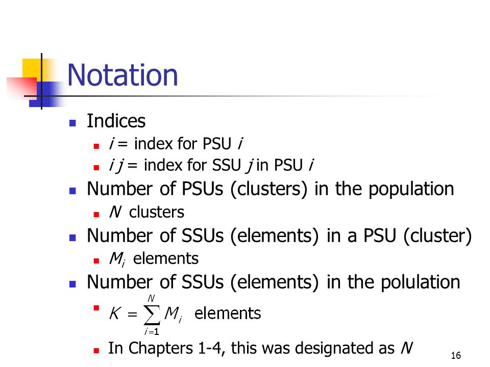 Notation Indices Number of PSUs (clusters) in the population
