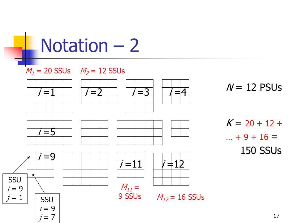 Notation – 2 N = 12 PSUs K = 20 + 12 + … + 9 + 16 = 150 SSUs i =1 i =2