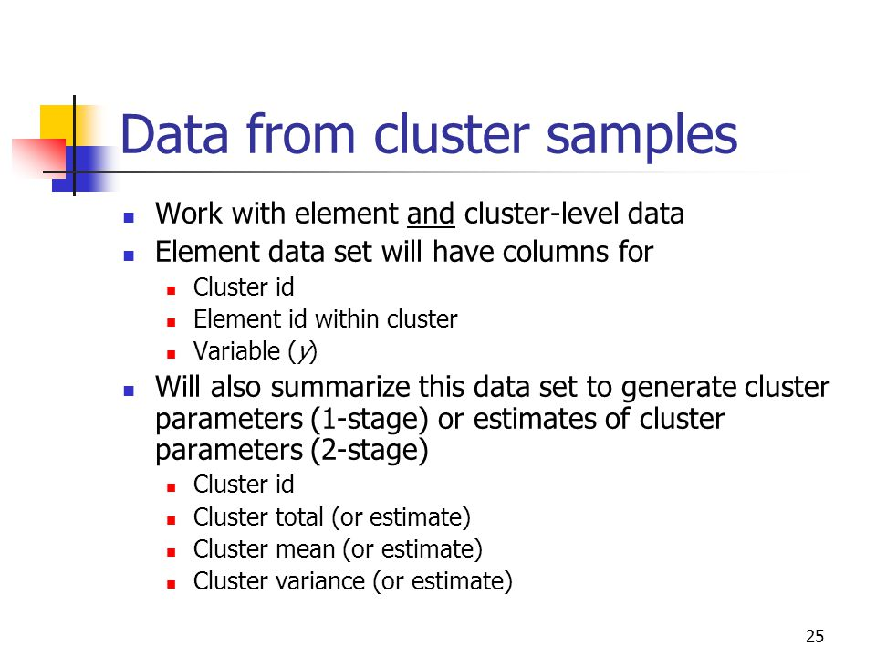 Data from cluster samples