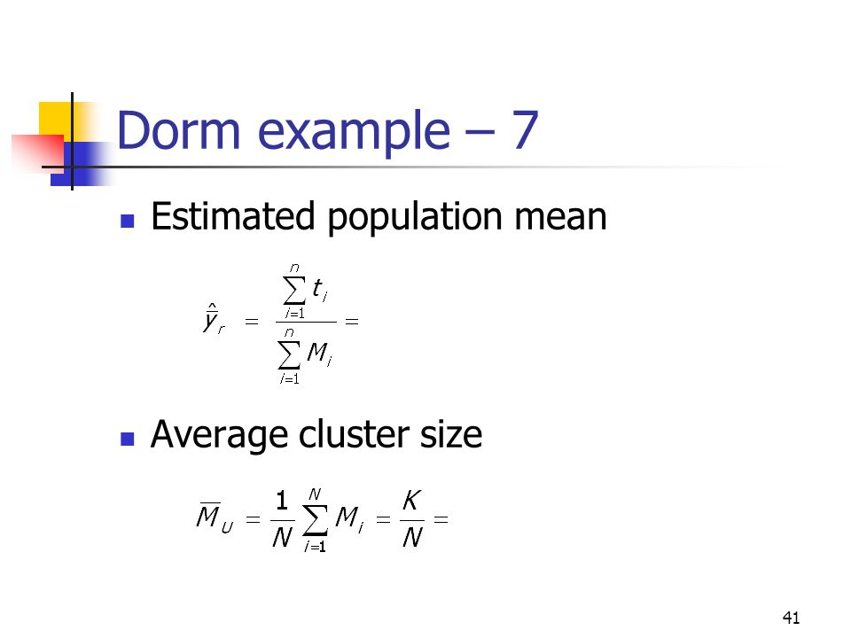 Dorm example – 7 Estimated population mean Average cluster size