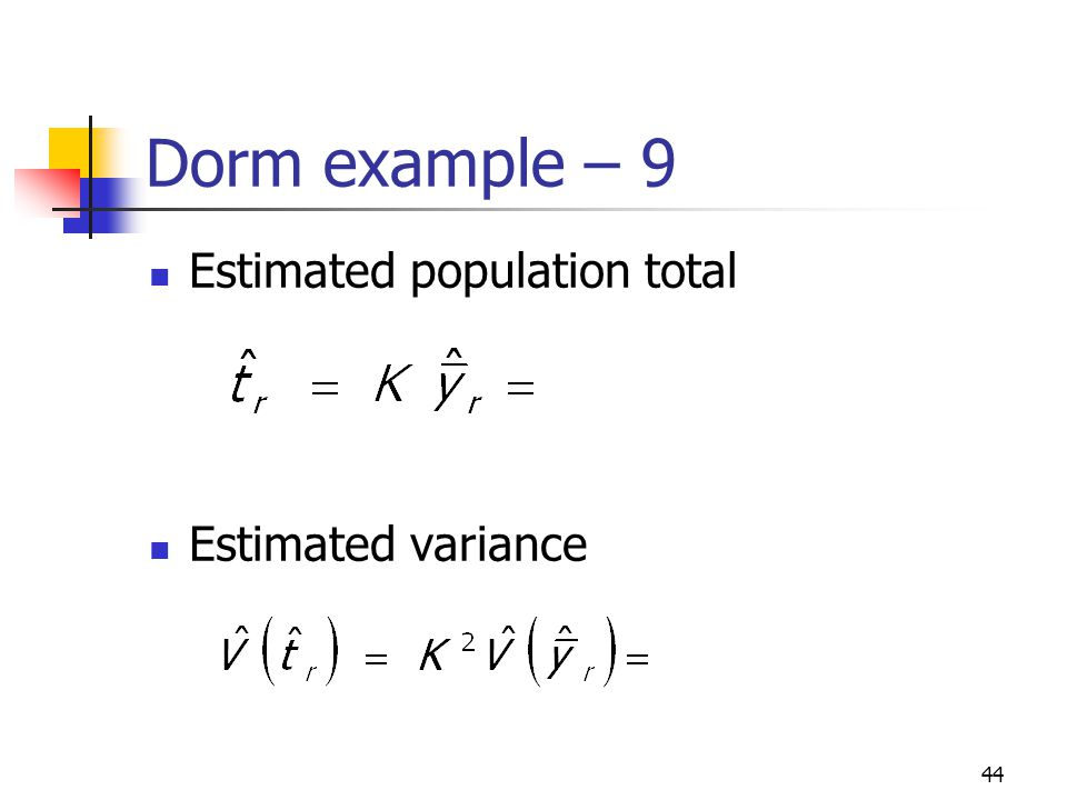 Dorm example – 9 Estimated population total Estimated variance