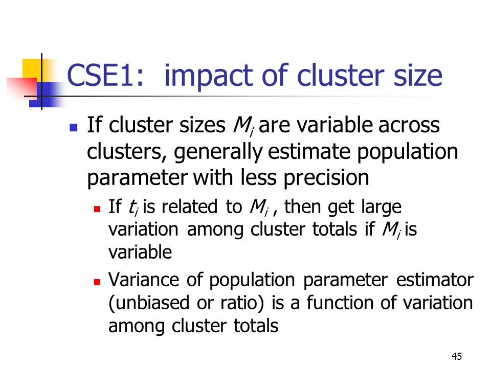 CSE1: impact of cluster size