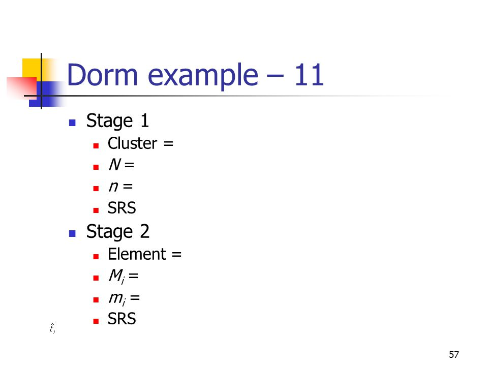 Dorm example – 11 Stage 1 Stage 2 Cluster = N = n = SRS Element = Mi =