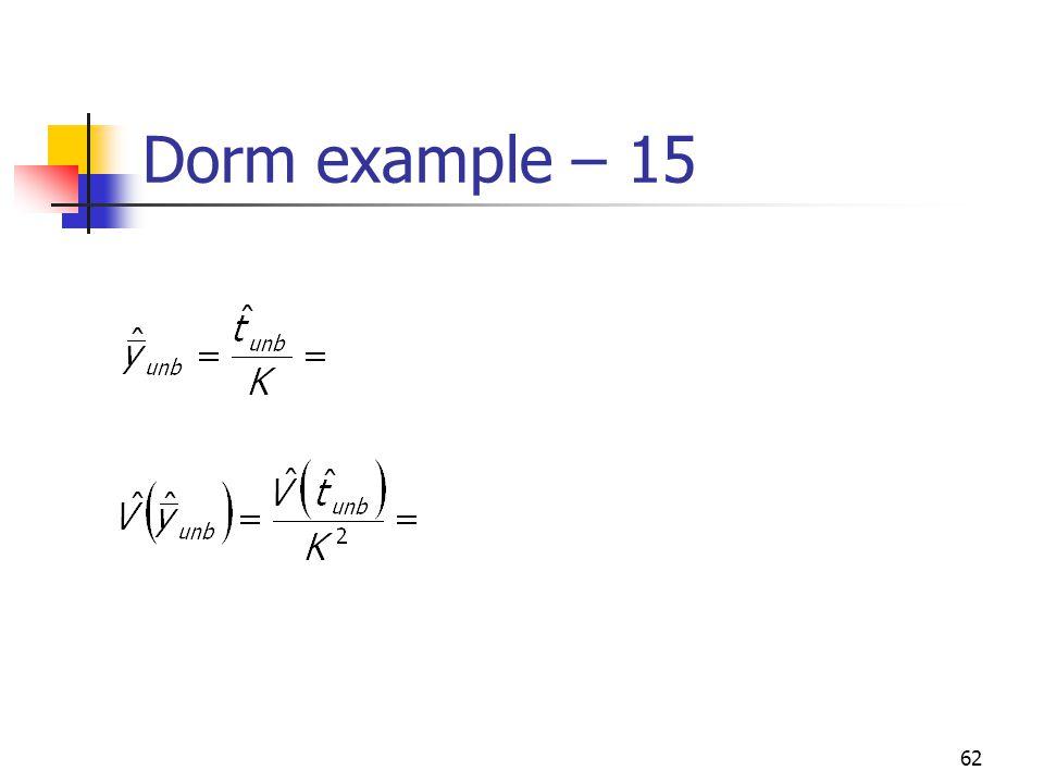Dorm example – 15
