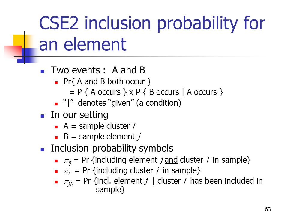 CSE2 inclusion probability for an element
