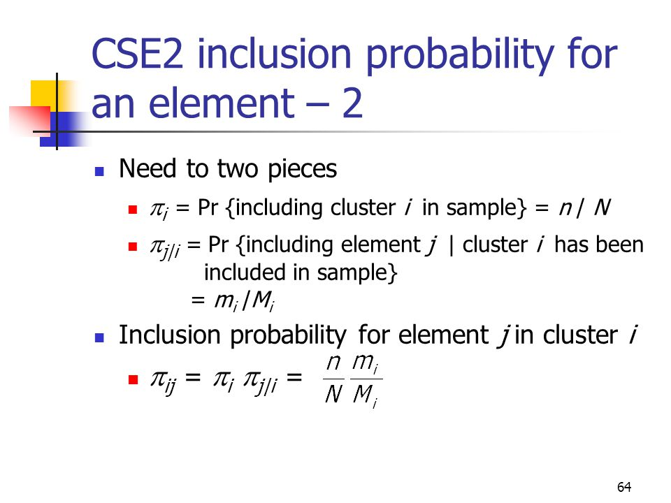 CSE2 inclusion probability for an element – 2
