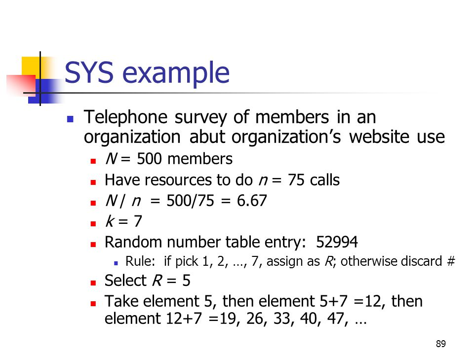 SYS example Telephone survey of members in an organization abut organization's website use. N = 500 members.