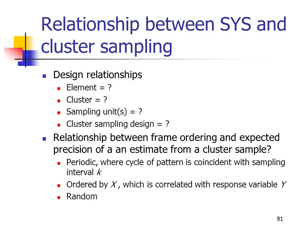Relationship between SYS and cluster sampling