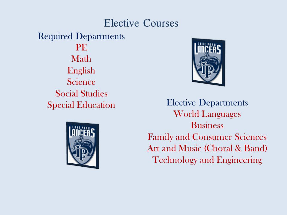 Elective Courses Required Departments PE Math English Science