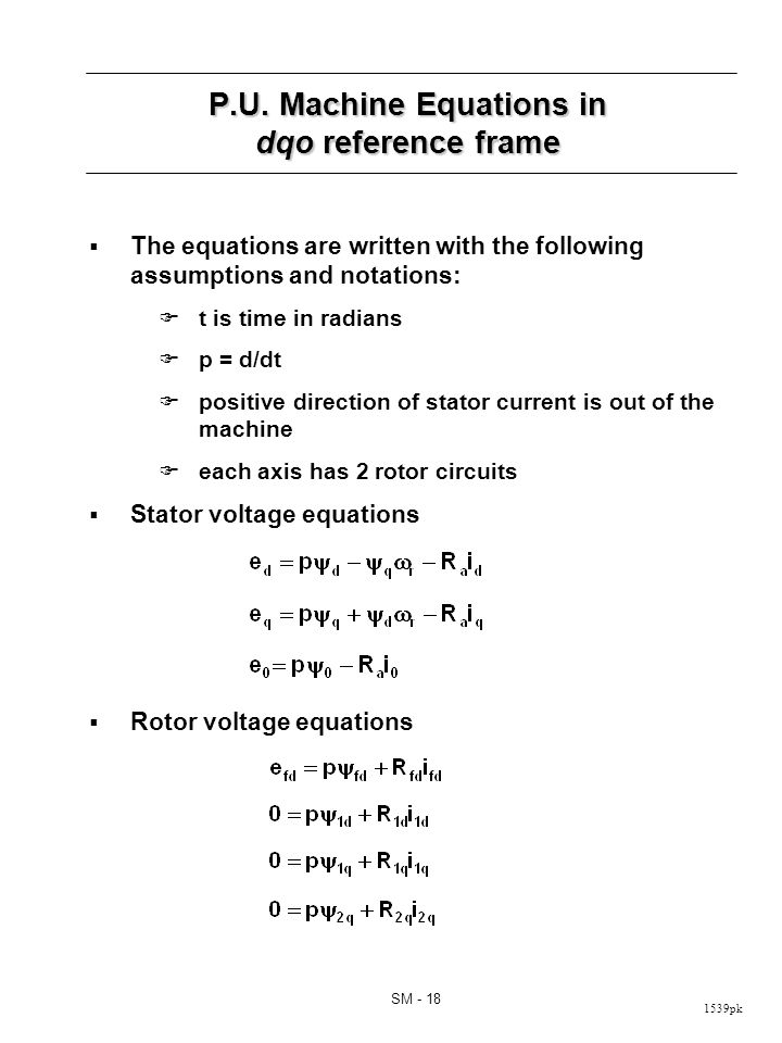P.U. Machine Equations in dqo Reference Frame (cont d)
