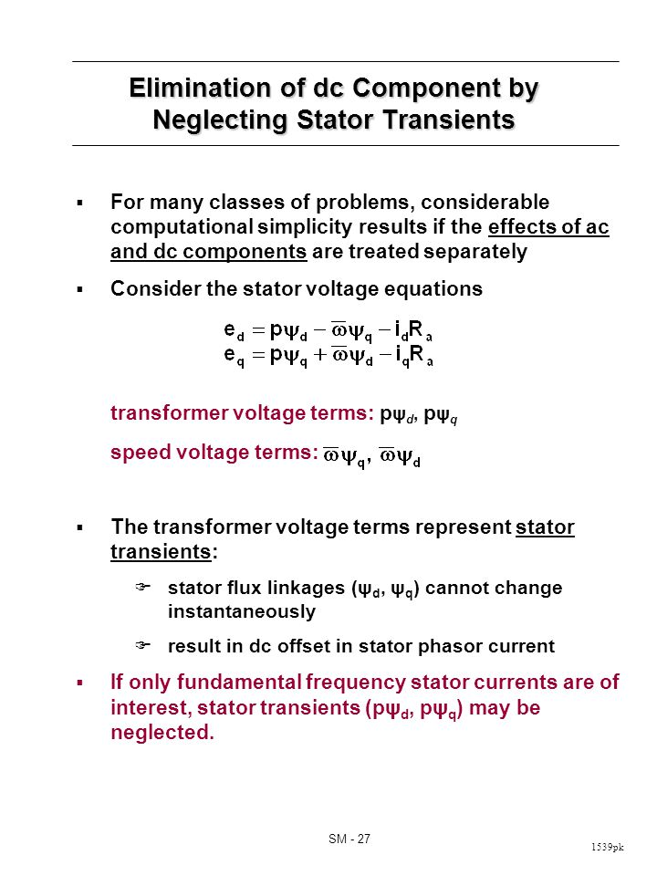 Short Circuit Currents with Stator Transients Neglected
