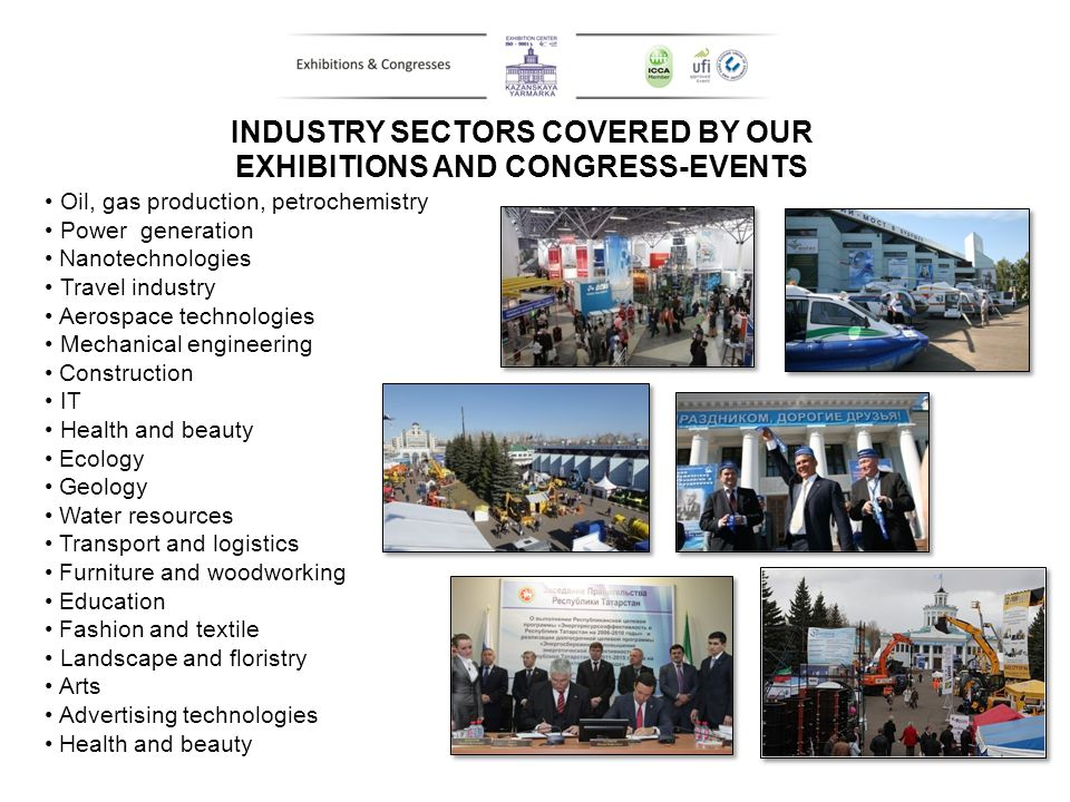 INDUSTRY SECTORS COVERED BY OUR EXHIBITIONS AND CONGRESS-EVENTS