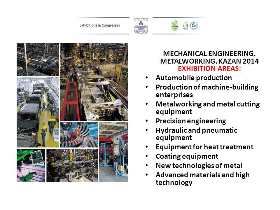 MECHANICAL ENGINEERING. METALWORKING. KAZAN 2014 EXHIBITION AREAS: