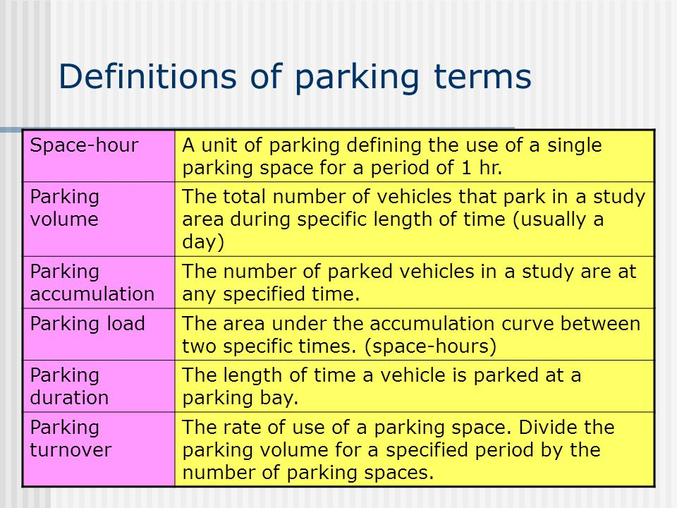 Definitions of parking terms