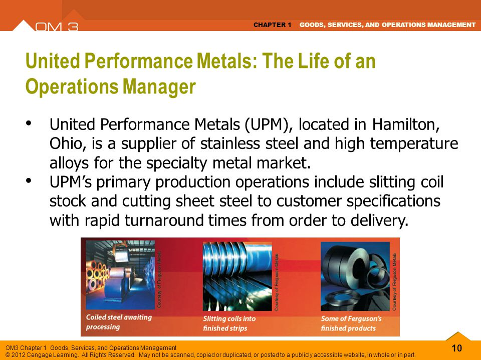 United Performance Metals: The Life of an Operations Manager