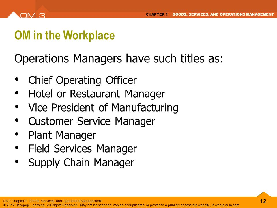 OM in the Workplace Operations Managers have such titles as: